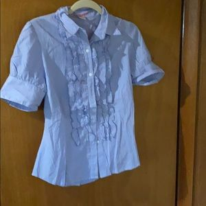 Young women's Size M blue and white blouse